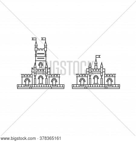 Fortress Set On A White Background. Fortress Outline Illustration. Historical Fortress With Flag Vec
