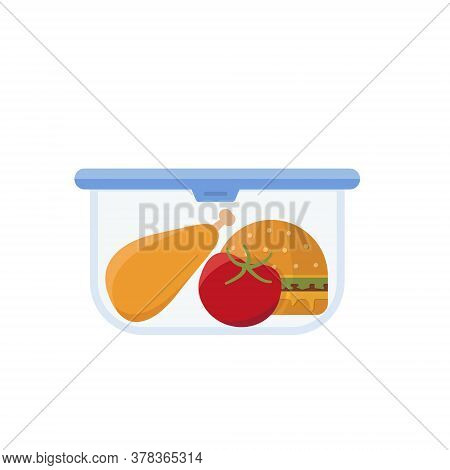 Lunch Box And Bag Vector. Healthy School Lunch Food For Kids, Student. Isolated Flat Cartoon Illustr