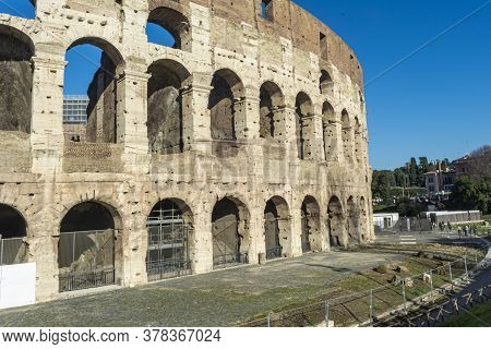 Rome, Italy, 25.12.2019: Colosseum Or Gladiator Arena, Famous Stony Ancient Architecture. Flavian Am