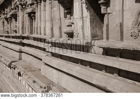 Hampi,Karnataka, India - December 31,2018: A UNESCO World Heritage Site located in east-central Karnataka, India- Exterior wall sculpture