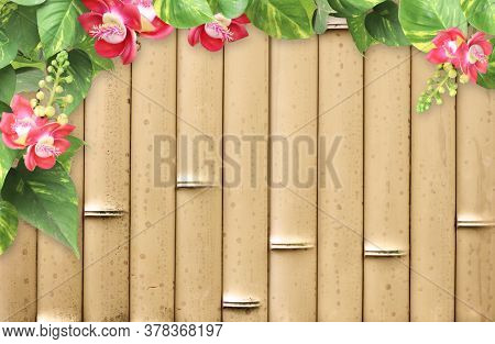 Horizontal background with bamboo mat, flower and tropical leaves. Nature backdrop with exotical border with plants of jungle and bamboo planks. Copy space for text. Mock up template