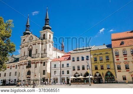 Saint Ignatius Church At Masaryk Square, Baroque Cathedral, Jihlava, Czech Republic. July 05, 2020