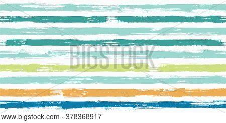 Fashion Watercolor Brush Stripes Seamless Pattern. Ink Paintbrush Lines Horizontal Seamless Texture