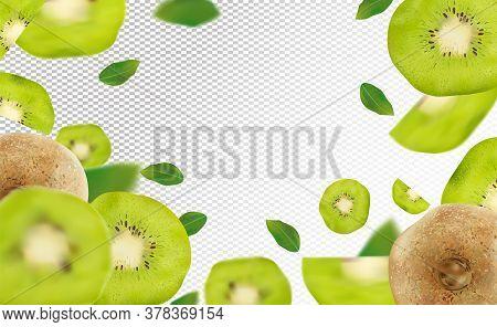 3d Realistic Kiwi With Green Leaf. Ripe Kiwi Fruit In Motion. Beautiful Kiwi Background. Falling Kiw