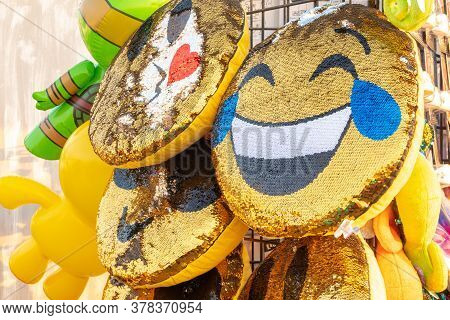 Los Angeles, California - October 09 2018: Smiley / Smile Face Emoji Pillows, 3d Round Cushions For
