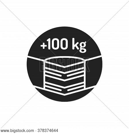 Maximum Weight Limit Up To 100 Kg Black Glyph Icon. Weight-limited Mattress. Pictogram For Web Page,