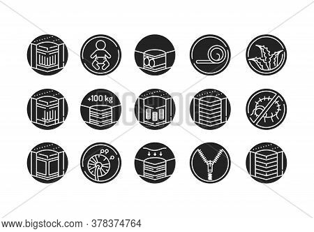 Mattress Linear Icons Set Black Glyph Icon. Different Types Of Mattresses. Pictogram For Web Page, M