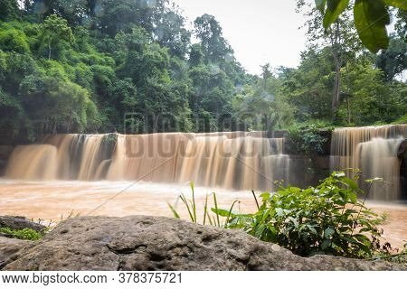 Flash Flood In Waterfall . Waterfall From Flash Flood In The Rain Forest. Flash Flood Cascading Down