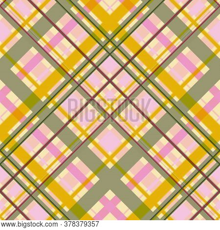Seamless Colored Diagonal Checkered Pattern. Difficult Intersection Of Wide And Thin Stripes.