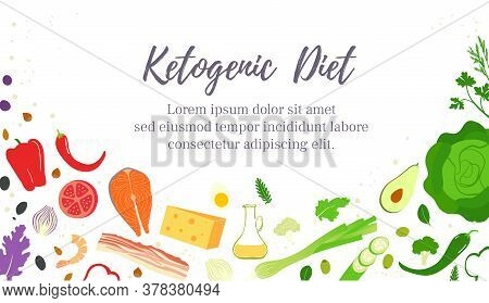 The Keto Or Ketogenic Diet. A Diet Low In Carbohydrates For Weight Loss. Baner Template Design