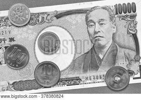 Japanese Money: A Banknote Of 10,000 And Coins Of 100, 10 And 1 Yen Close-up. Black And White Monoch