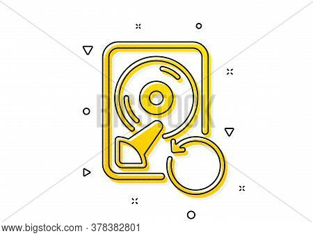 Backup Data Sign. Recovery Hdd Icon. Restore Information Symbol. Yellow Circles Pattern. Classic Rec
