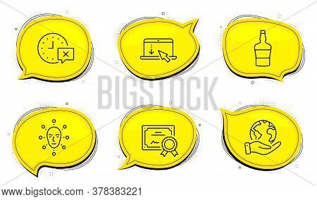 Scroll Down Sign. Diploma Certificate, Save Planet Chat Bubbles. Face Biometrics, Scotch Bottle And