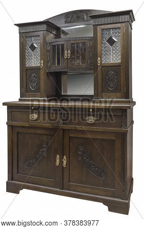 Old Vintage Cupboard With Stained Glass. Old Wooden Cabinet Isolated On White Background