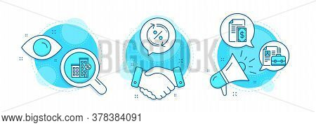 Vacancy, Loan House And Payment Line Icons Set. Handshake Deal, Research And Promotion Complex Icons