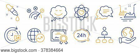 Set Of Technology Icons, Such As Chemistry Pipette, Management. Certificate, Save Planet. Atom, 24h