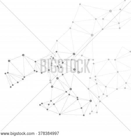 Geometric Plexus Structure Cybernetic Concept. Network Nodes Greyscale Plexus Background. Coordinate