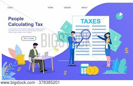 Modern Vector Illustration Of Two Businessmen And Businesswoman In Glasses Calculating Taxes With Bi