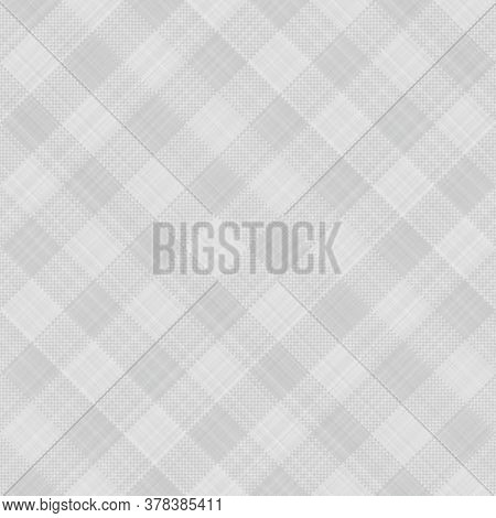 Seamless French Grey White Farmhouse Style Gingham Texture. Woven Linen Check Cloth Pattern Backgrou