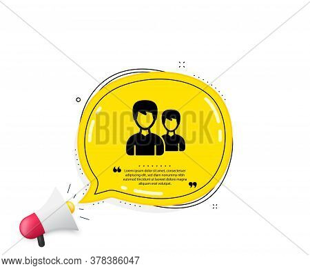 User Icon. Quote Speech Bubble. Couple Or Group Sign. Male Person Silhouette Symbol. Quotation Marks