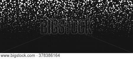 Snowfall Vector Illustration. Snow On Black Background.