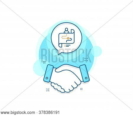 Project Process Sign. Handshake Deal Complex Icon. Journey Path Map Line Icon. Agreement Shaking Han