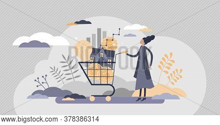 Cost Of Living With Expenses Consumption In Cart Flat Tiny Persons Concept. Family Budget Plan With