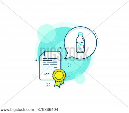 Soda Aqua Drink Sign. Certification Complex Icon. Water Bottle Line Icon. Liquid Symbol. Certificate