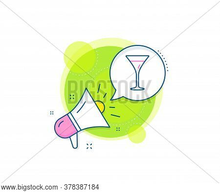 Wine Glass Sign. Megaphone Promotion Complex Icon. Martini Glass Line Icon. Business Marketing Banne