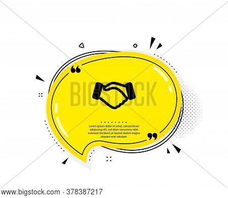 Handshake Icon. Quote Speech Bubble. Hand Gesture Sign. Business Deal Palm Symbol. Quotation Marks.