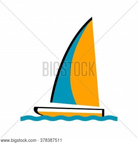 Sailing Yacht On A White Background. The Symbol Of The Seaside Resort. Vector Isolated Illustration