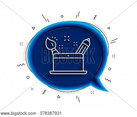 Creativity Concept Line Icon. Chat Bubble With Shadow. Graphic Designer Sign. Brush And Pencil Symbo