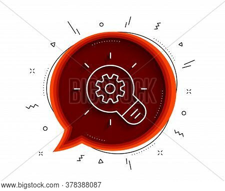 Cogwheel Line Icon. Chat Bubble With Shadow. Engineering Tool Sign. Idea Bulb Symbol. Thin Line Cogw