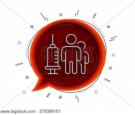 Medical Vaccination Line Icon. Chat Bubble With Shadow. Medicine Vaccine Sign. Pharmacy Medication S