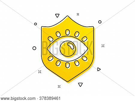Oculist Clinic Sign. Eye Protection Icon. Optometry Vision Symbol. Yellow Circles Pattern. Classic E