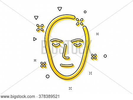 Face Care Sign. Health Skin Icon. Cosmetic Lotion Symbol. Yellow Circles Pattern. Classic Health Ski