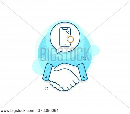 Phone Backup Sign. Handshake Deal Complex Icon. Smartphone Recovery Line Icon. Mobile Device Symbol.