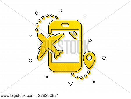 Trip Flight Destination Sign. Airplane Travel Icon. Holidays Symbol. Yellow Circles Pattern. Classic