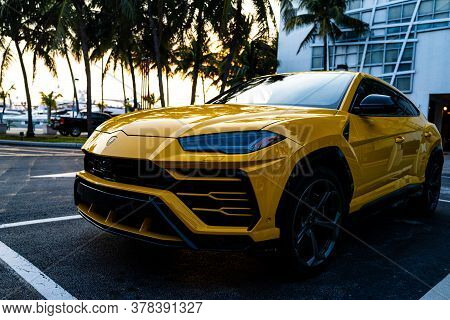 Miami, Florida, Usa - June 2020: Lamborghini. Yellow Super Car. Beautiful Expensive Car. Horsepower.