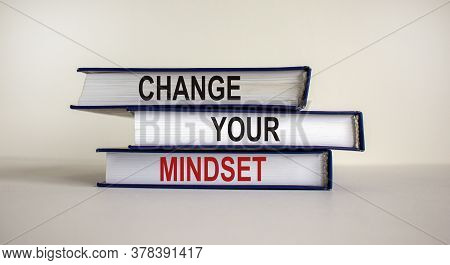 Books With Text 'change Your Mindset' On Beautiful White Background. Business Concept. Copy Space.