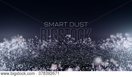 Smart Dust Abstract Vector Background. Particles With Aberration And Bokeh. Hitech Technology Wallpa