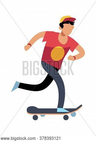 Young Man On Skateboard. Simple Young Character Skater Guy Skating On Board. Outdoor Activities In P