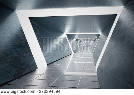 Futuristic Long Corridor In Spaceship. 3d Rendered Illustration.