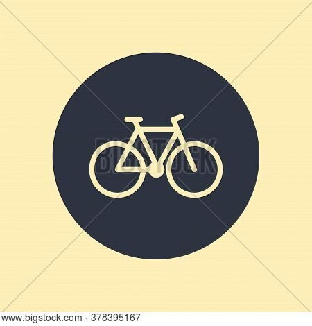 Minimalistic Bicycle Icon. Vector Symbol In Flat Design On Round Background