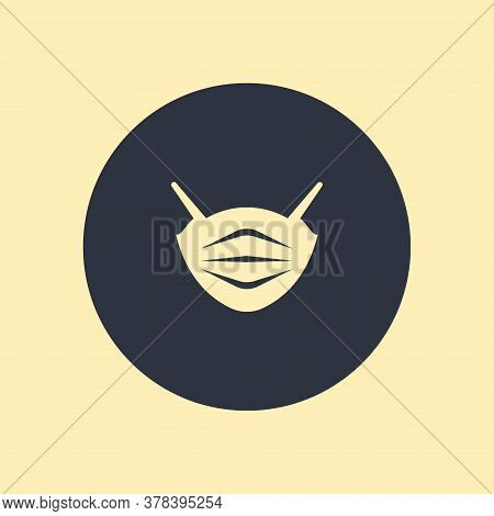 Medical Mask Vector Icon In Flar Style On Round Backgrund