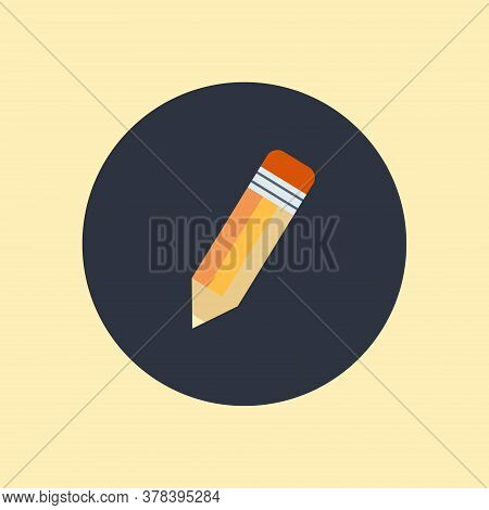 Yellow Pencil Icon Vector Symbol On Round Background