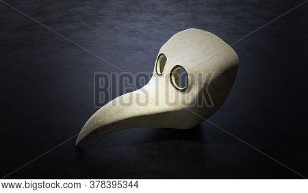 Plague Mask Of Medieval Doctor On Black Background. 3d Rendered Illustration.