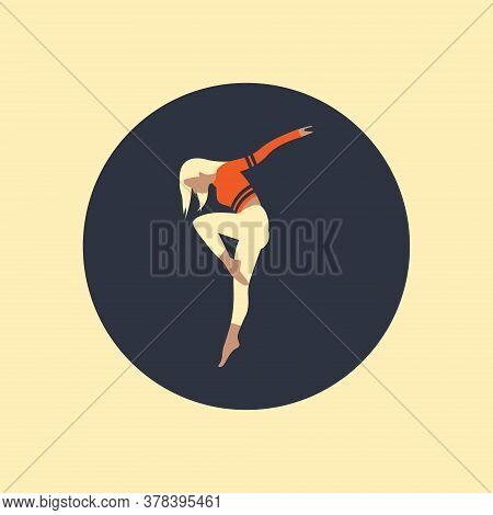 Dancing Girl Black Silhouette Isolated White Background. Vector Illustration.