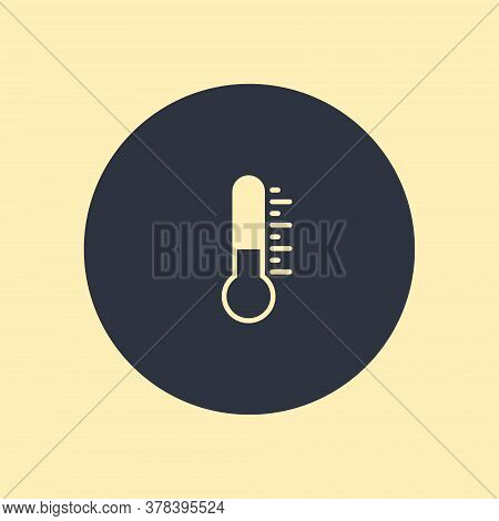 Thermometer Icon. Vector Symbol Flat Icon On Round Background