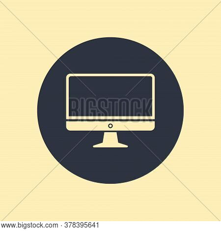 Computer Display Monitor Pc Icon In Flat Style On Round Background